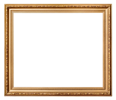 Vintage gold picture frame on white background. Stock Photo