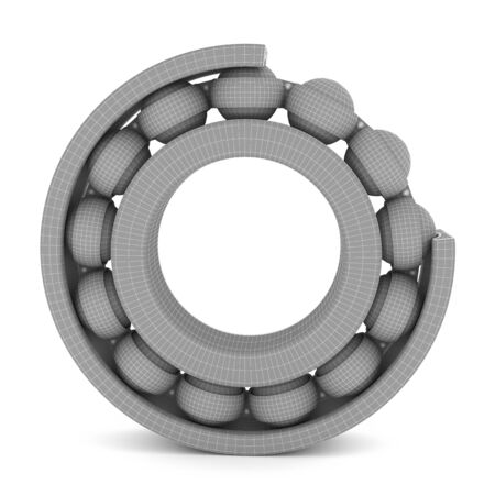 The ball bearing on a white background. 3D rendering on a white background.