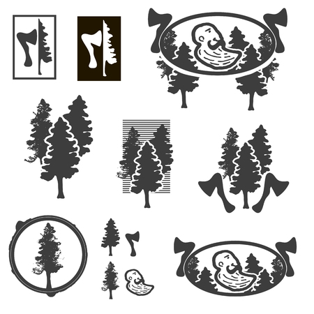 woodsman: Monochrome logo Logger with vintage elements, forest, ax.