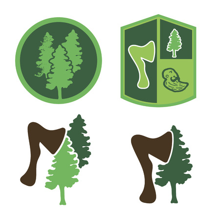 logging: Green logo with wood, an ax, a forester Illustration