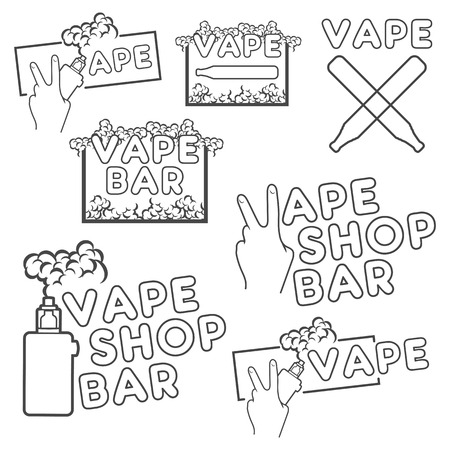 e cigarette: Logos or emblems of electronic cigarettes with steam, in different versions.