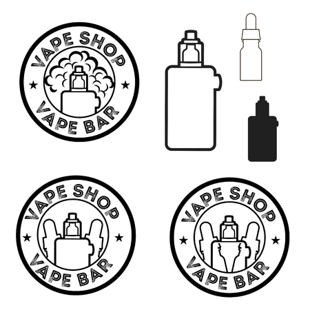 e cigarette: Round logos with electronic cigarettes and liquids Illustration