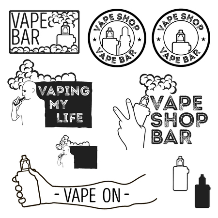 vaporized: Set of vintage logos of electronic cigarettes, e-cigarette emblem for shops, bars. The man with the electronic cigarette. Electronic cigarette in hand.