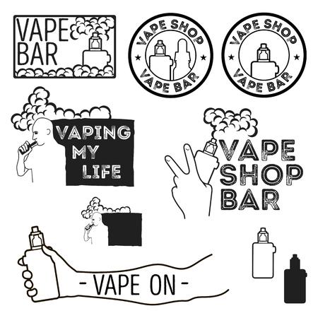 e liquid: Set of vintage logos of electronic cigarettes, e-cigarette emblem for shops, bars. The man with the electronic cigarette. Electronic cigarette in hand.