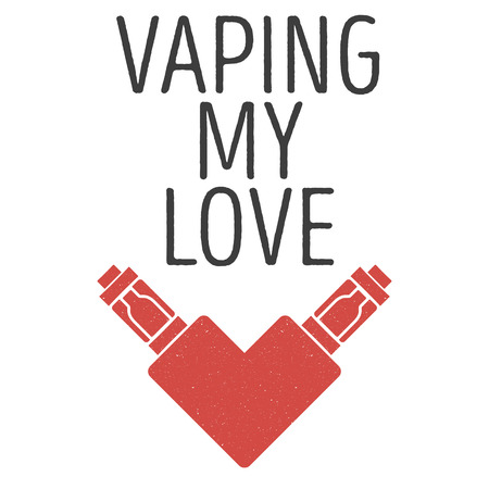 vaporized: emblem of two electronic cigarettes in the form of heart, with an inscription a vaping my love