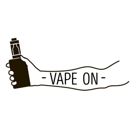 e cigarette: Emblem of an electronic cigarette in hand and an inscription a vape on Illustration