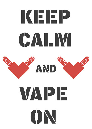 electrons: Poster with electrons cigarettes in the form of heart and an inscription, keep calm and vape on