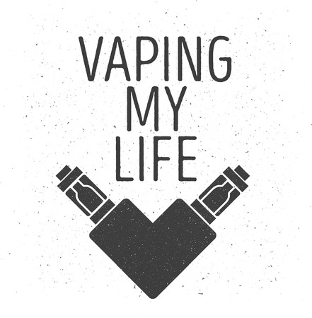 e cigarette: emblem of two electronic cigarettes in the form of heart, with an inscription a vaping my life