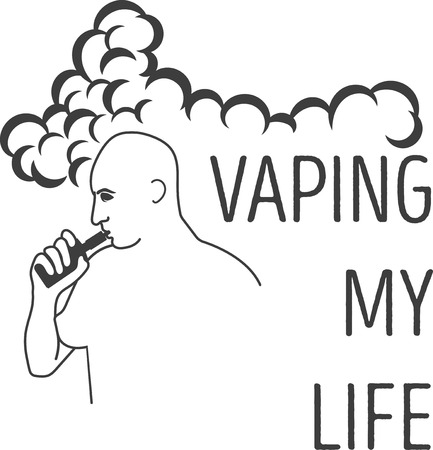 e liquid: the mans emblem with an electronic cigarette in hands and an inscription, a vaping my life.