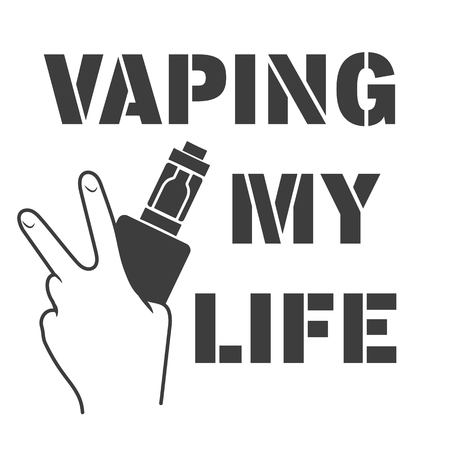 vaporized: Emblem of an electronic cigarette in hands and an inscription a vaping my life Illustration