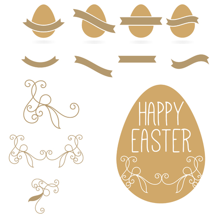 gold eggs: Vintage set it is yellow gold eggs and tapes on a white background. Jewelry for Easter. Illustration