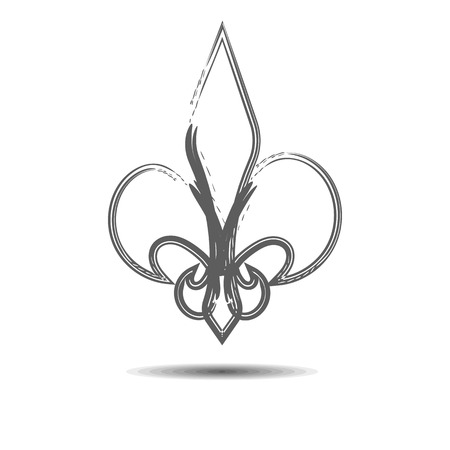 royal french lily symbols: The heraldic lily drawn with a brush.