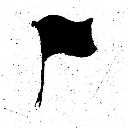 The black isolated or poster of a flag in grunge style. is suitable for the press on a t-shirt or just jewelry. illustration