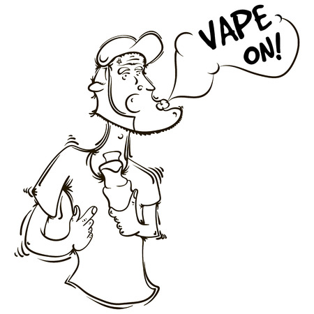 vaporize: The person or the animation character with an electronic cigarette in hands