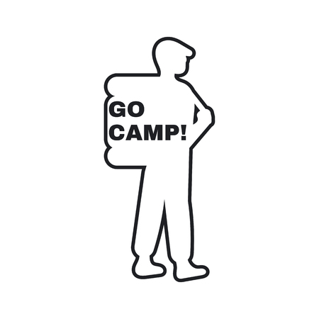 campground: Campground - an emblem of the person with a backpack and the inscription go camp Illustration