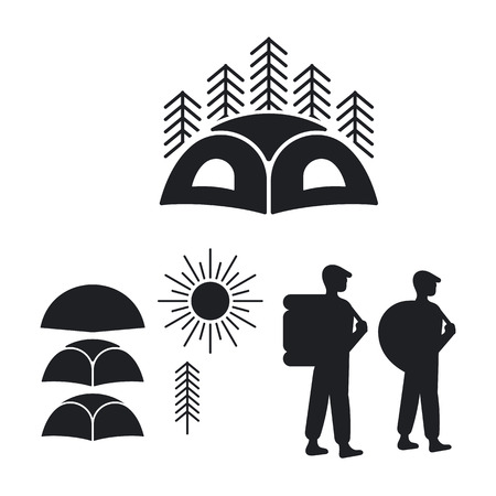 campground: Set of emblems for the campground. Emblems of tent, the wood, the sun and people with backpacks Illustration