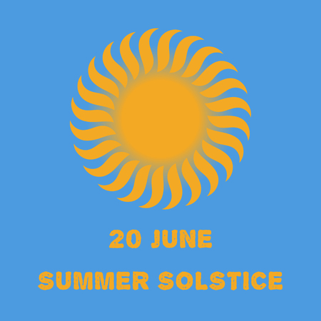 summer solstice: Emblem or poster of the sun on a blue background for a holiday of day of a solstice Illustration