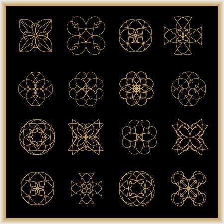 Set of mandalas or geometrical elements for decoration on a black background