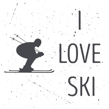 skiers: The skiers silhouette on a white shabby background. illustration