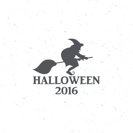 witchery: The emblem or poster for Halloween 2016 with a witch on a broomstick, for decorating party. illustrations Stock Photo