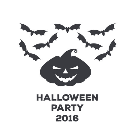 Vector monochrome logo or poster for a holiday Halloween. Pumpkin with a scary face and bats to decorate a party or celebration.