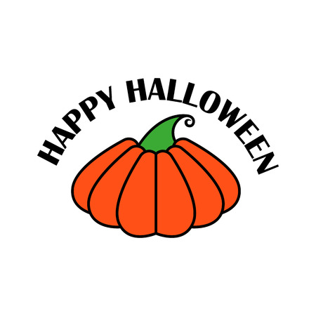 Vector emblem or poster for a holiday Halloween. Orange pumpkin, to decorate a party or celebration.