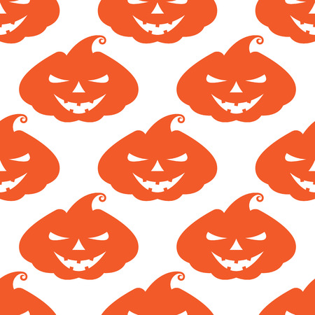 range fruit: Vector pattern with orange pumpkins scary face on white background Illustration