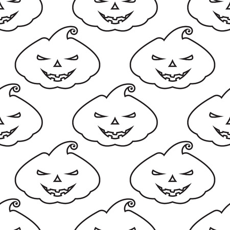 silhoette: Vector pattern silhouette pumpkin with scary face on white background
