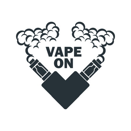 vaporized: Vector emblem of the electronic cigarette with steam Illustration