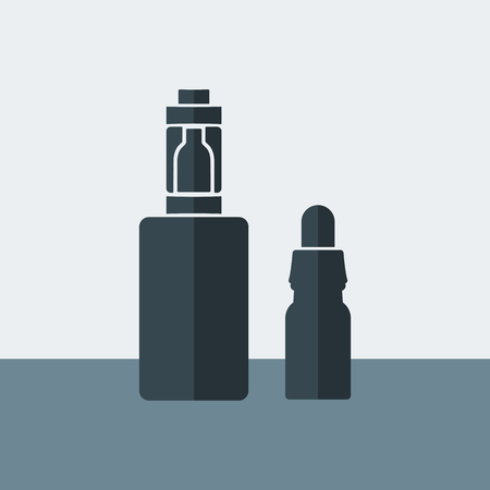 eliquid: Vector Electronic Cigarette with liquid in the flat design style Illustration