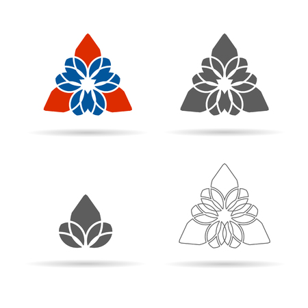 Vector set of geometrical figures, ornament, linear icon. Emblems are suitable for decorationof yoga, Spa, health, logos  packaging decoration. EPS8