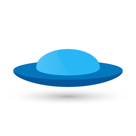 platillo volador: Vector blue UFO or a flying spaceship for newcomers,  decoration and design.