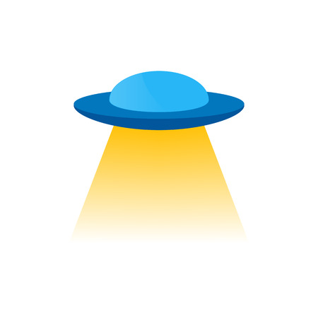Vector isolated blue ufo or flying a spacecraft to the stranger with yellow light from under the bottom,  decorate and design.