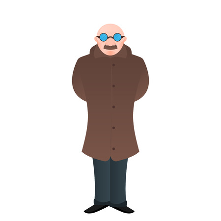 Vector cartoon isolated man,bald  with glasses and a mustache in  long brown jacket or coat wearing shoes,holding his hands behind  back, the interested character,office worker,banker,chief