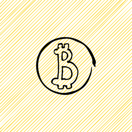 Vector doodle coin Bitcoins black on a yellow background
