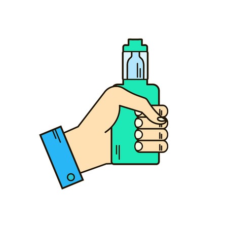 Vector colorfu licons or logo of the electronic cigarette in the hand, eps8 Illustration