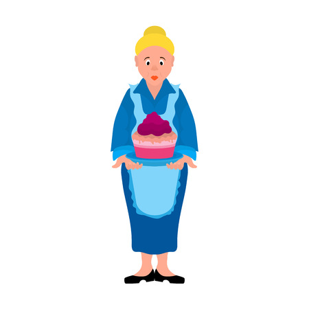 Cartoon character is a woman or grandmother in a blue dress and an apron with a cake for a birthday or a holiday, vector illustrations eps8