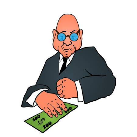 Cartoon business man in a suit with money in hand