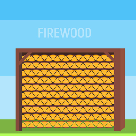 shed: Neatly stacked wood in the shed or in the house to store firewood Illustration