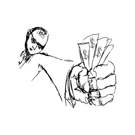 Doodle men with money in hand