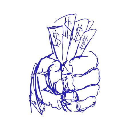 Hand Holding Money. Sketch or Doodle Hands with Money. Vector Ilustration Illusztráció