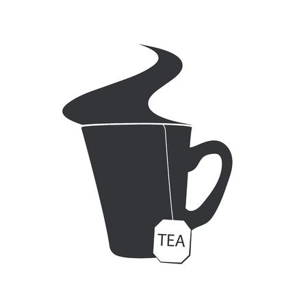 vapore acqueo: Emblema di una tazza di tè con una bustina e un vapore