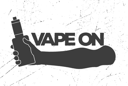 fallow: Vintage emblem with an electronic cigarette in hand and an inscription vape on The logo is suitable for decorating a store or for printing
