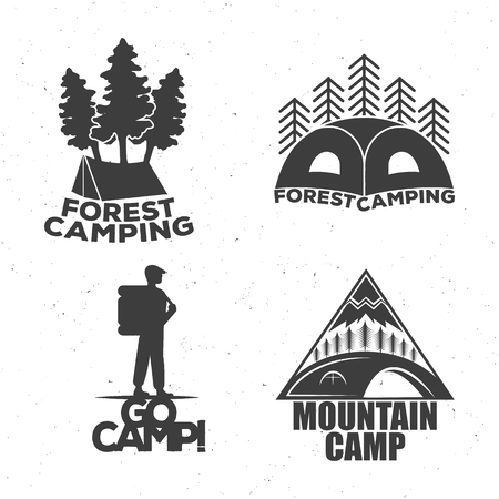 A camping set of logos for travelers, a tent, a forest, a traveler, a mountain.