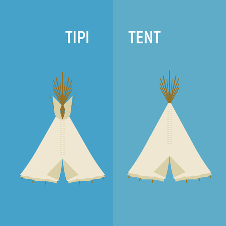 Tourist Indian or tipi tents for outdoor recreation. Vector illustration is suitable for decorating camping Illustration