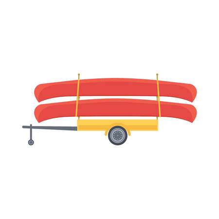 Yellow trailer with red canoe, illustration in flat design style Illustration