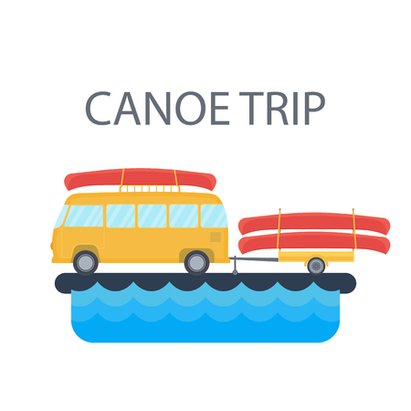 Yellow bus for traveling and camping with a trailer and canoe on the background of the river or the sea. Vector Illustration in the style of flat design for the design of the campsite
