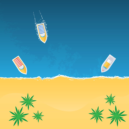 motorboat: Boats on the beach view from above, vector illustration Illustration
