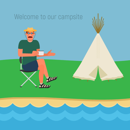 camper: A resting man sitting on a chair with an Indian tent on the site for a camping. Vector illustration of a flat design Illustration