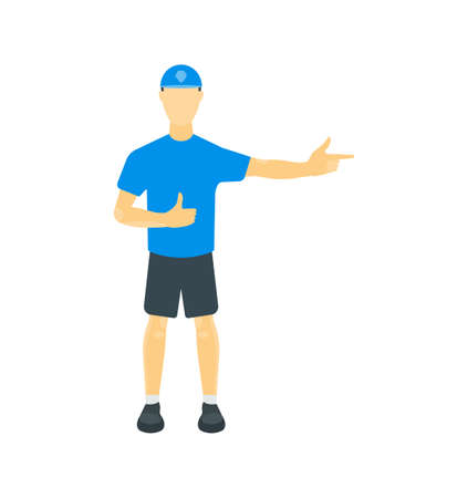 Vector illustration of a guy in a T-shirt, shorts and a cap. One hand with a shaka gesture is another hand with an index gesture